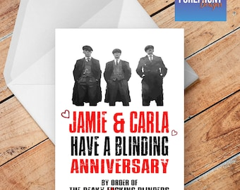Personalised PEAKY BLINDERS spoof/funny anniversary/wedding greeting card - any occasion or event/Wording/anniversary/birthday/wedding