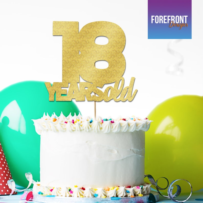 Personalised 18 YEARS OLD Birthday Cake Topper 12 Colours