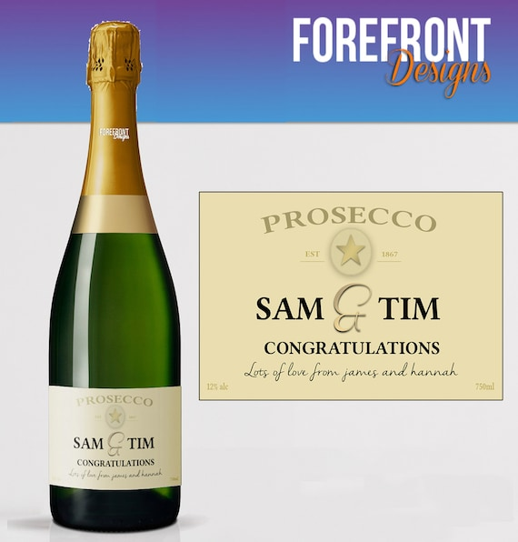 Personalised Prosecco bottle label Perfect Birthday//Wedding//Graduation Gift