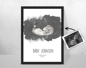 Personalised BABY Scan Ultrasound Watercolour Print 4D first baby scan/Baby Shower Gift/ New mum to be/ Bump gift/ Pregnancy Keepsake Mum