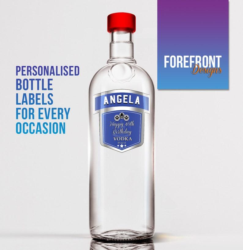 Super Spersonalizowane niebieska wódka butelka celebracja etykieta   Etsy OP03