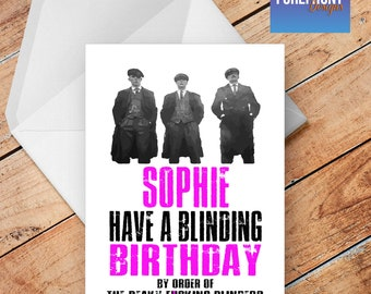 Personalised PEAKY BLINDERS spoof/funny/rude BIRTHDAY greeting card - any occasion or event/Wording/anniversary/birthday/wedding