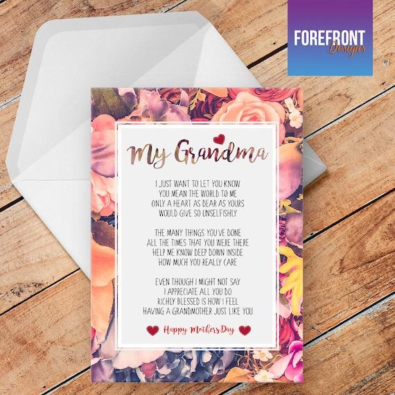 Personnalisé Jour Poème De Fête Des Mères Ma Grand Mère Voeux Carte Grand Mèremamanmèremaman Souvenir Spécial Cadeausur Mesure Nimporte