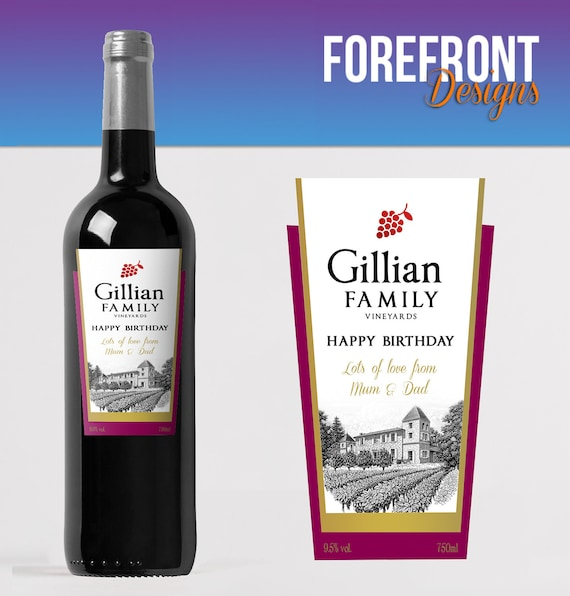 PERSONALISED WINE BOTTLE LABEL BIRTHDAY ANY OCCASION GIFT