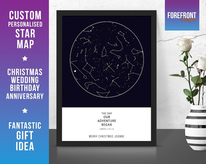 Christmasxmas Personalised Star The Began Adventure Gift Mapconstellation Present Night Locationtime Our Sky Map Fantastic Day Any DEHY29WI