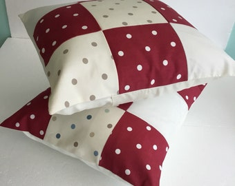 Patchwork cushion cover - patchwork pillow - dotty cushion - spotty cushion