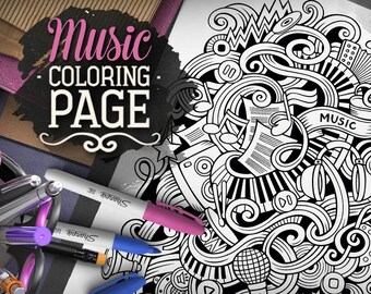 MUSIC Digital Coloring Page Adult Musical Doodles Art Printable Sheet Ethnic Illustration Therapy Download