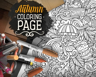 AUTUMN Digital Coloring Page Nature Adult Printable Hello Autumn Doodles Art Fall Season Doodling Download