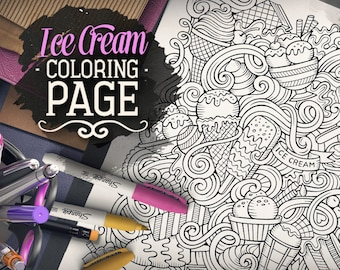 ICE CREAM DOODLE Digital Coloring Page, Adult Coloring, Printable Art, Colouring sheet, Cartoon Illustration, Art Therapy, Digital Download