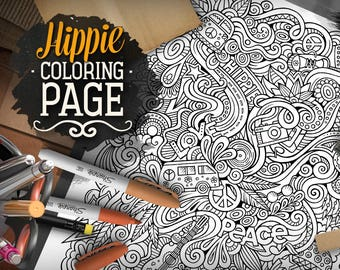 HIPPIE Digital Coloring Page Adult Hippy Doodles Art Printable Sheet Ethnic Illustration Therapy Download