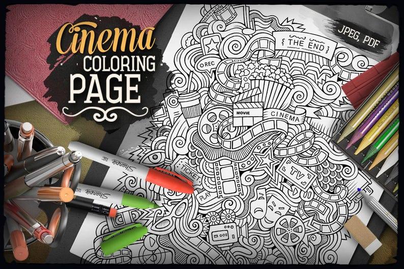 Doodle De Cine Digital Página Para Colorear Colorear Adultos Etsy