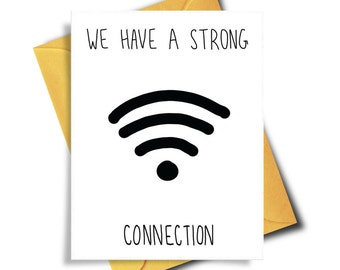 Strong Connection, Funny Birthday Card For Boyfriend, Funny Card For Him, Card For Girlfriend, Love Card, Birthday Card Funny, Card For Her