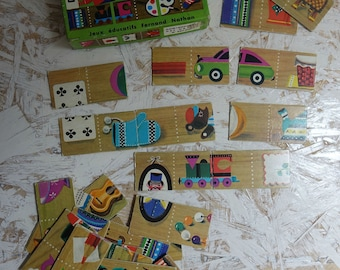 French dominoes collectibles - set for toddlers - educational game Puzzle