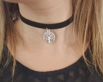 Black choker tree of life pendant silver plated
