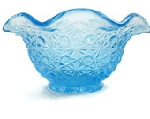 Blue Daisy and Button Candy Dish With Ruffled Rim - 1950s Candy Dish - Turquoise Daisy and Button Glass