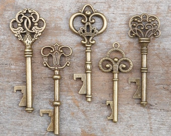 50 Assorted Key Bottle Openers - Vintage Skeleton Keys - Wedding Decorations & Party Favors - Antique  Gold - Steampunk Rustic