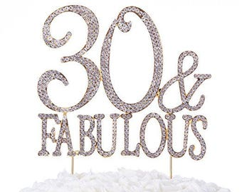 60 fabulous cake topper 60th birthday party supplies silver etsy Black Balloon Gold 40 Birthday 30 and fabulous cake topper 30th birthday party supplies silver rhinestone decoration toppers gold