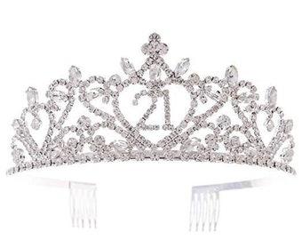 Vintage  Heart Tiara Fancy Ornate CrownTiara with Combs