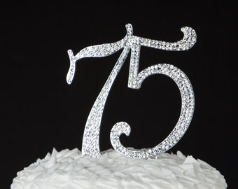 75 Cake Topper 75th Birthday Anniversary Silver Party Supplies Decoration Ideas Crystal Rhinestone Metal Number Decorations