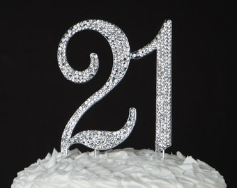 21 Cake Topper 21st Birthday Party Decorations Silver CrystalRhinestone Metal Number Decoration Ideas Supplies Centerpiece