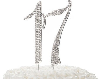 17 Cake Topper For 17th Birthday Rhinestone Number Decoration Party Supplies Silver