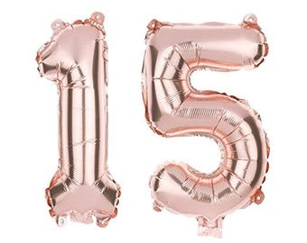 15 Number Balloons For 15th Birthday Party Or Quinceanera Balloon Numbers Rose Gold