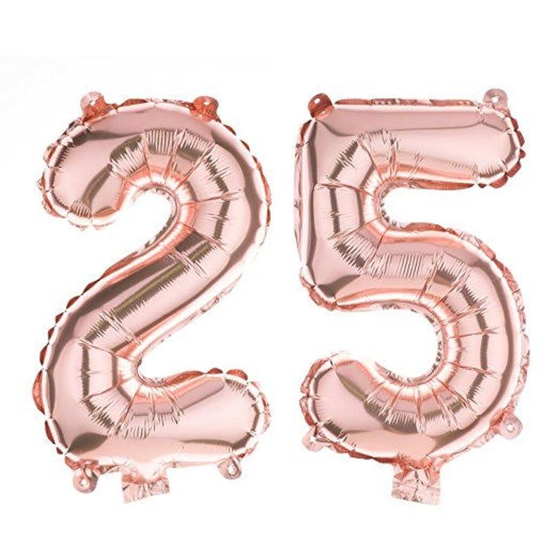 b1df81d92e50 25 Partei Ballons für 25. Geburtstag oder Jubiläum, Nummer Dekorationen  liefert (40 Zoll, Rose Gold)