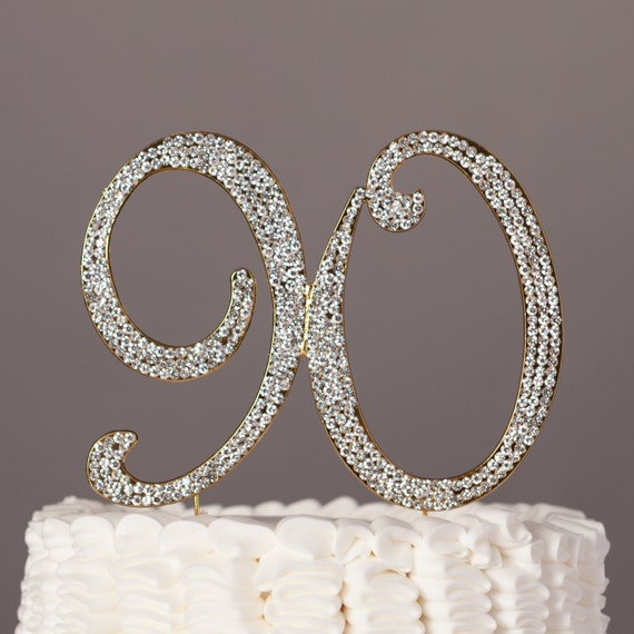 90 Cake Topper 90th Birthday Decoration Gold Crystal