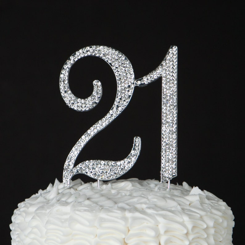 21 Cake Topper 21st Birthday Party Decorations Silver