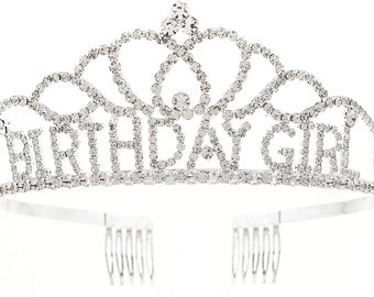 Birthday Girl Tiara, Silver Crown for Women, Party Accessories, Metal Tiaras (Silver Tiara)