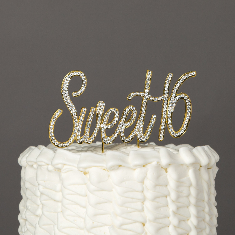 Sweet 16 Cake Topper 16th Birthday Gold Rhinestone Number ...