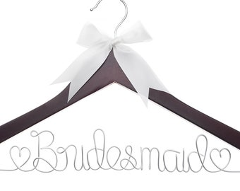 Bridesmaid Hanger, Wood and Wire Hangers for Bridesmaids, Bridal Party Gifts (4)