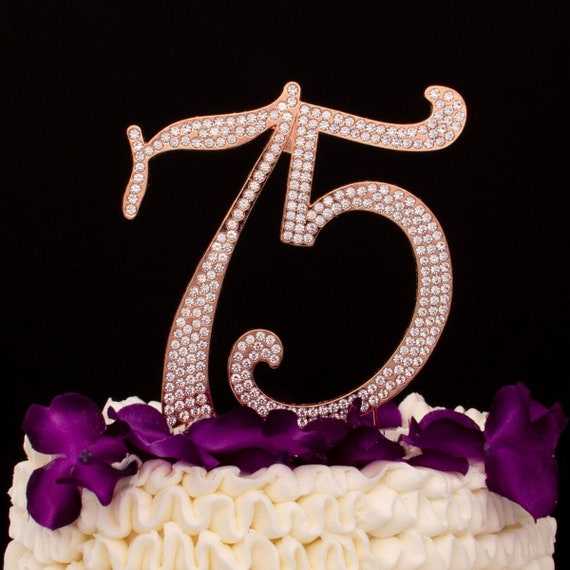 75 Cake Topper 75th Birthday Anniversary Party