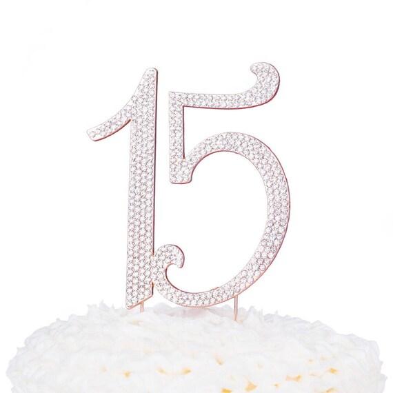 Rose Gold 15 Cake Topper 15th Birthday Anniversary