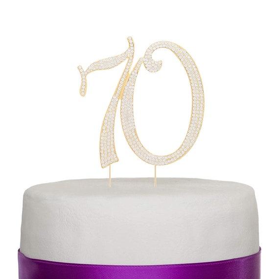 Silver Glitter 70 Cake Topper 70th Anniversary seventy seventieth Birthday
