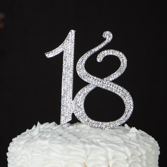 18 Cake Topper 18th Birthday Party Decoration Silver Crystal