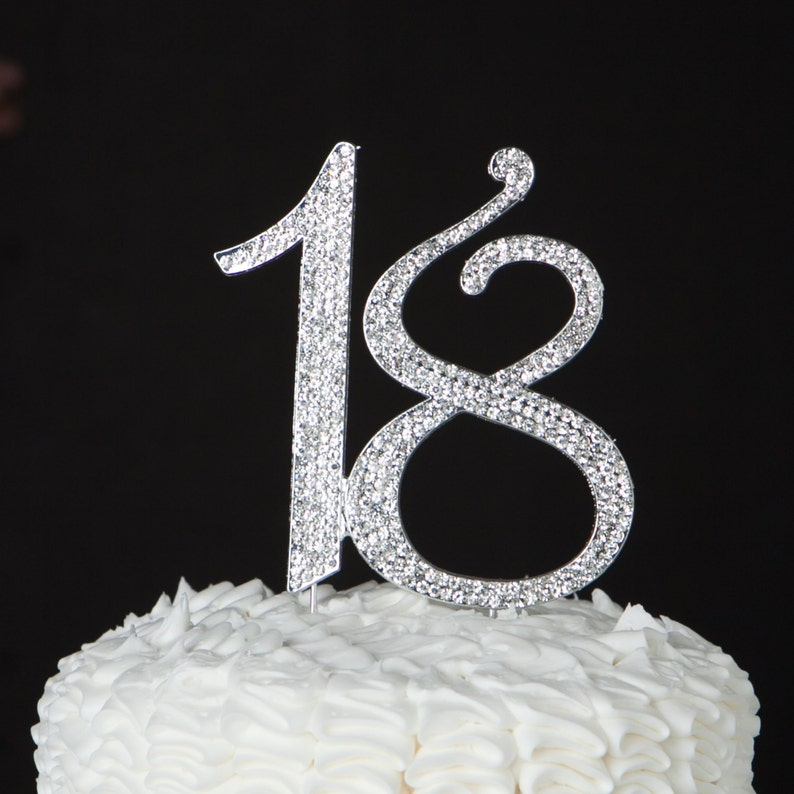 18 Cake Topper 18th Birthday Party Decoration Silver Crystal Rhinestone Metal Number Supplies Ideas Diamante Diamond