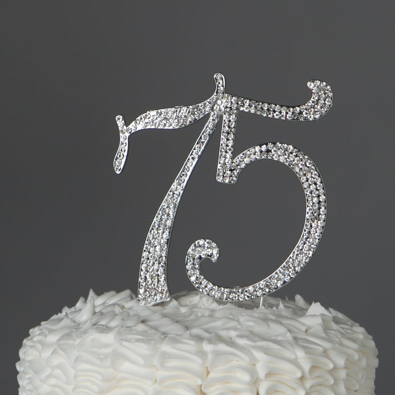 75 Cake Topper 75th Birthday Anniversary Silver Party