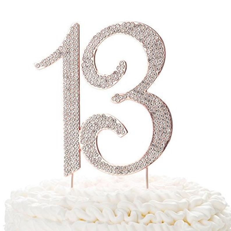 13 Cake Topper For 13th Birthday Party Rhinestone Metal