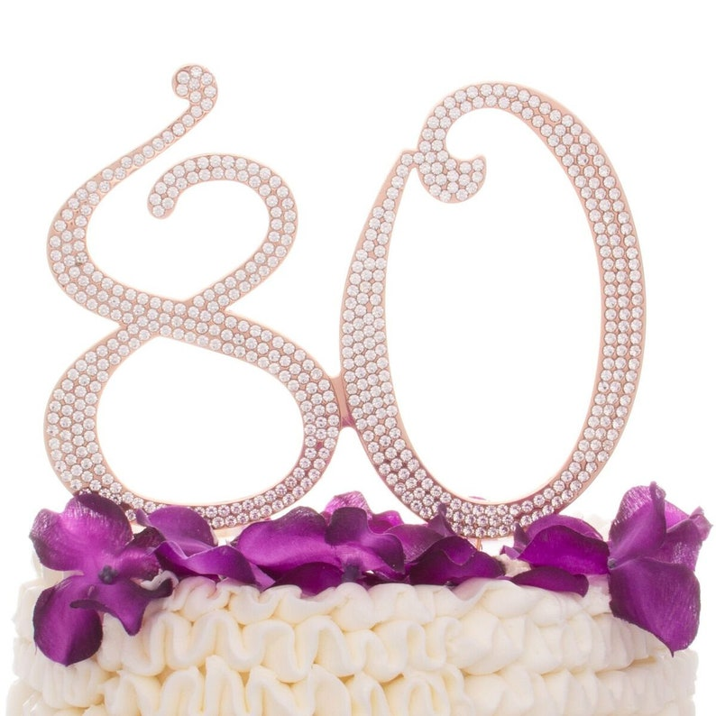 80 Cake Topper 80th Birthday Decorations Rose Gold Crystal
