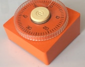 Vintage Plastic Mark Time 60min Kitchen Timer in Orange - 1970 39 s