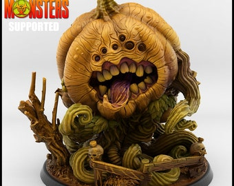 Giant Evil Pumpkin Miniature, Resin 3D Printed 28mm 32mm Tabletop RPG 3D Printed, Great for Dungeons and Dragons, Pathfinder and Warhammer