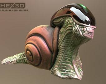Giant Alien Snail- Resin Miniature - Dungeons and Dragons - Pathfinder - Mini  28mm - 32mm