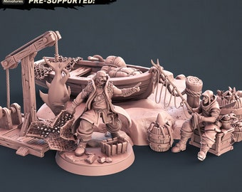 Fantasy Props Fisherman Set Dungeons and Dragons, Pathfinder, Tabletop Gaming 28mm Terrain RPG