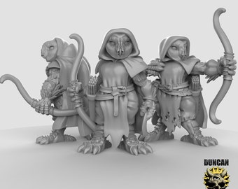 28mm Owl Rangers Miniatures Set of 3 for Dungeons and Dragons, Pathfinder, Starfinder and other Tabletop RPGs 3d printed