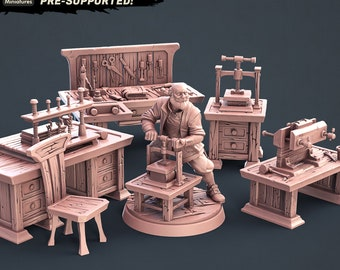Fantasy Props The Bookbinder Set Dungeons and Dragons, Pathfinder, Tabletop Gaming 28mm Terrain RPG