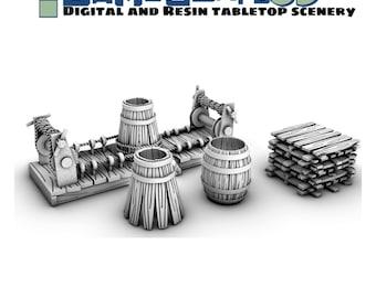 28mm Cooper set/Barrel Maker Props Dungeons and Dragons, Frostgrave,Pathfinder, Tabletop Gaming 28mm Terrain RPG