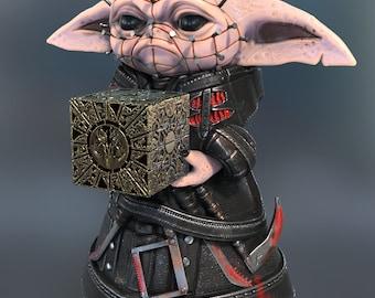 Baby Pinhead Pinhead/Baby Yoda Mash Up Resin 3D Printed Figurine