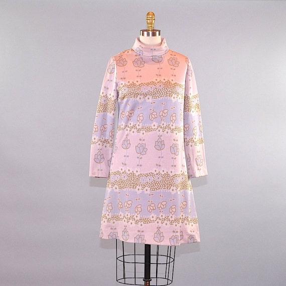 Vintage 1960s Norman Wiatt Women's Mod Dress Mauve