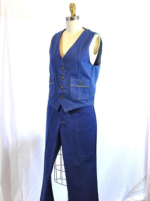 Vintage 1970s Blue Denim Two Pieces Vest and Flar… - image 2